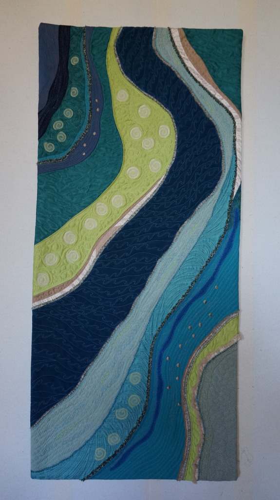 """""""The Great Reef"""" 18"""" x 40"""" A challenge project with the theme of Mapping- A View from Above"""